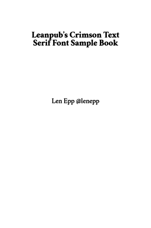 Leanpub's Crimson Text Serif Font Sample Book
