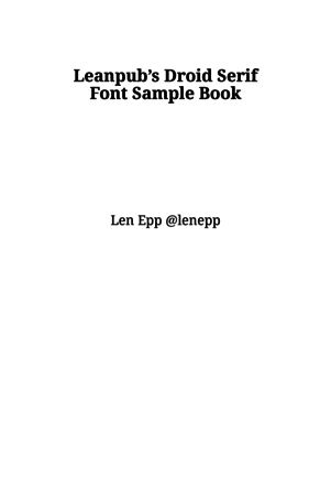 Leanpub's Droid Serif Font Sample Book