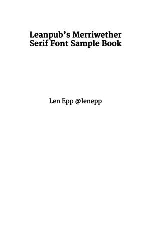 Leanpub's Merriwether Serif Font Sample Book