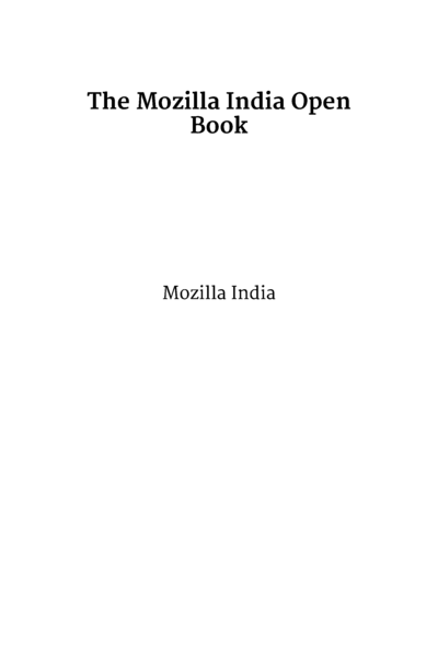 The Mozilla India Open Book