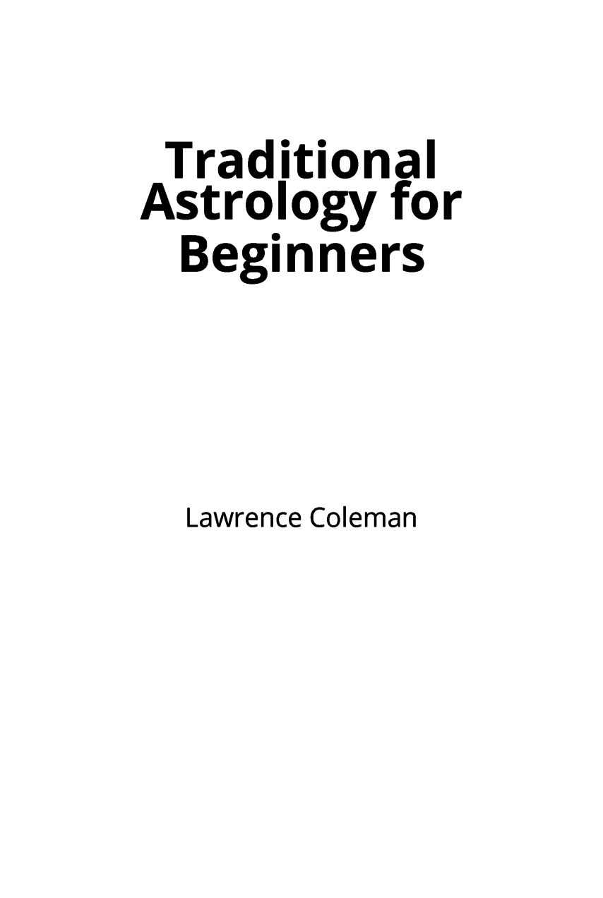 Traditional Astrology for Beginners cover page