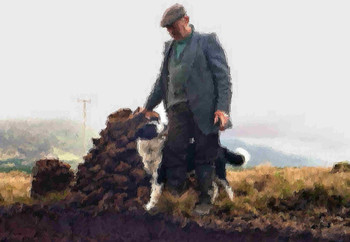 Man with dog %28painting effect%29