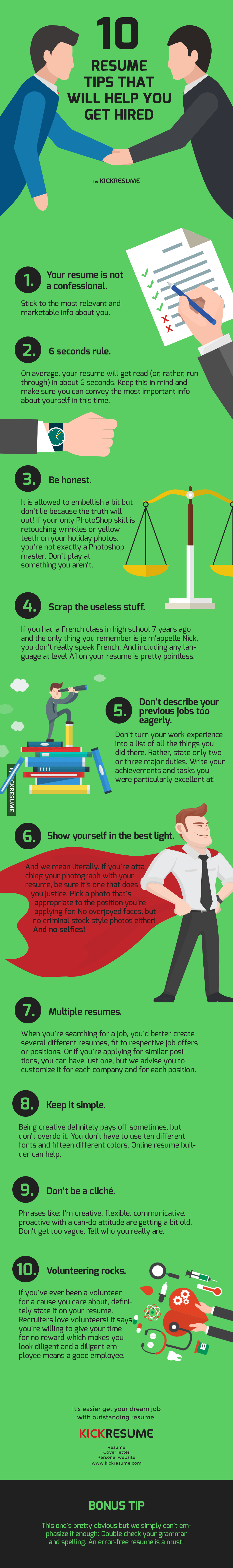 Top 10 Resume Tips That Will Get You Hired In 2017 Infographic