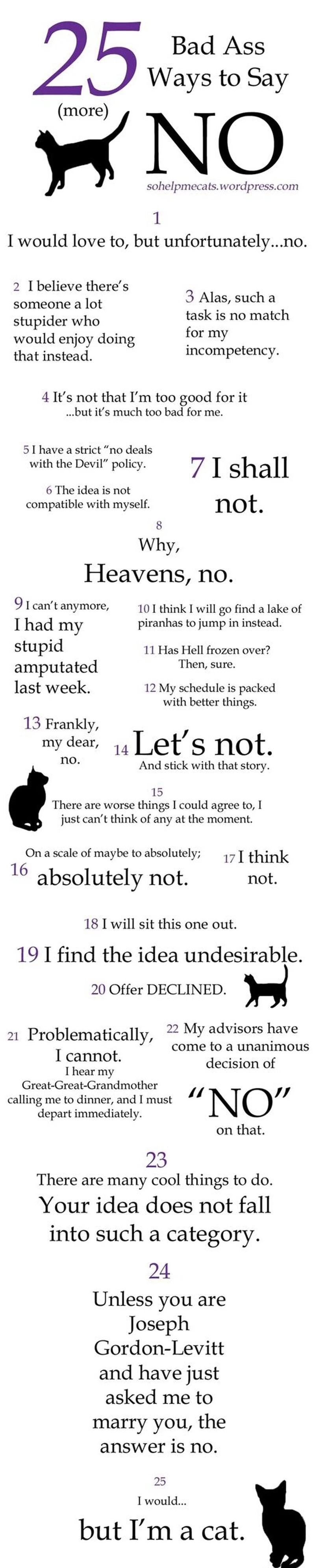 25 Funny Ways To Say No