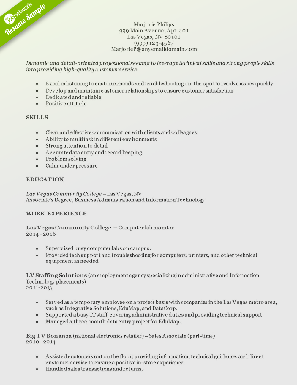 samples of excellent resumes
