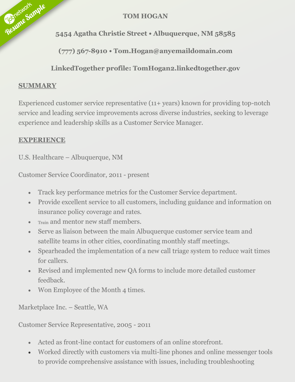 tom hogan resume - Customer Service Resume