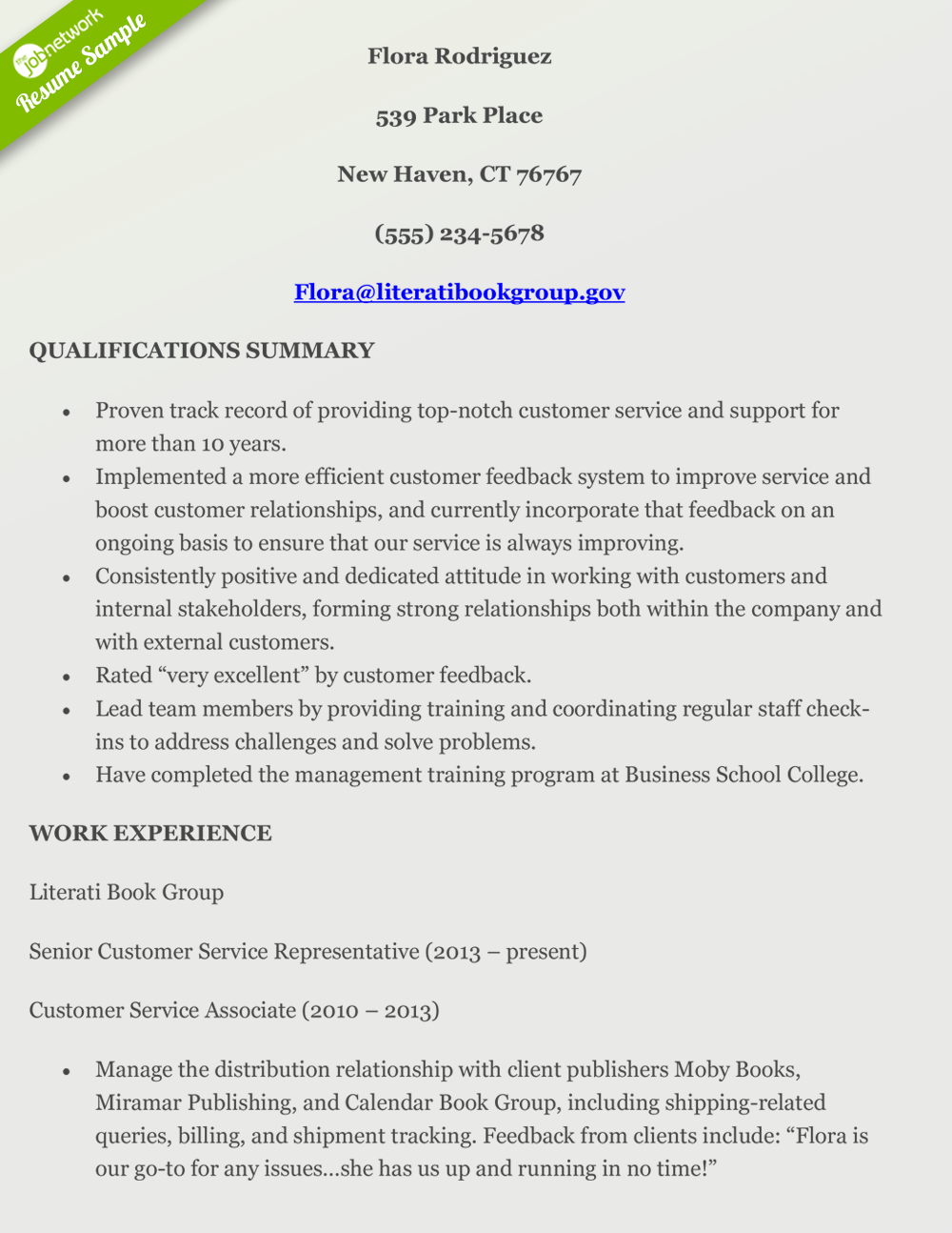 Customer Service Resume For Executives