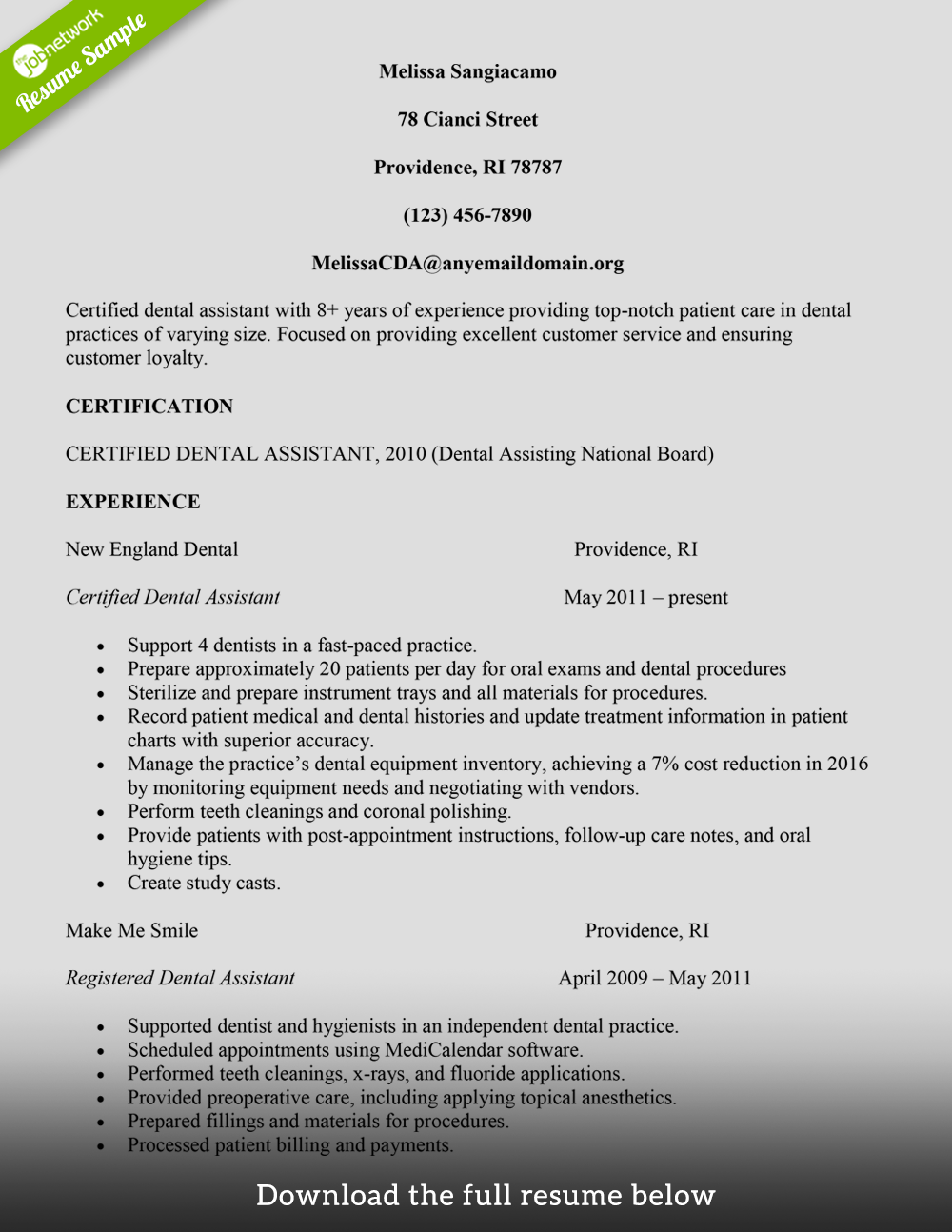 Example of dental assistant resume