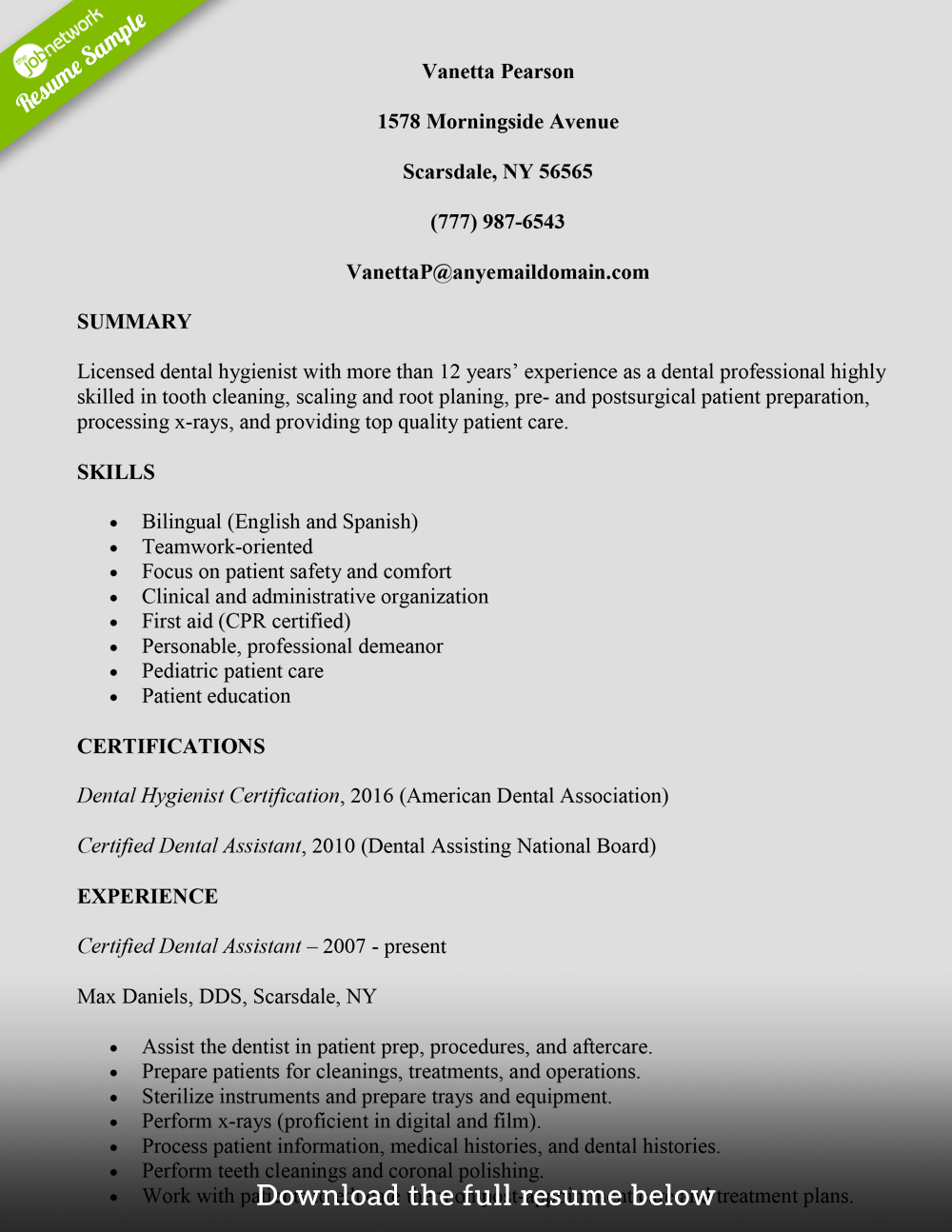 examples of dental hygiene resumes