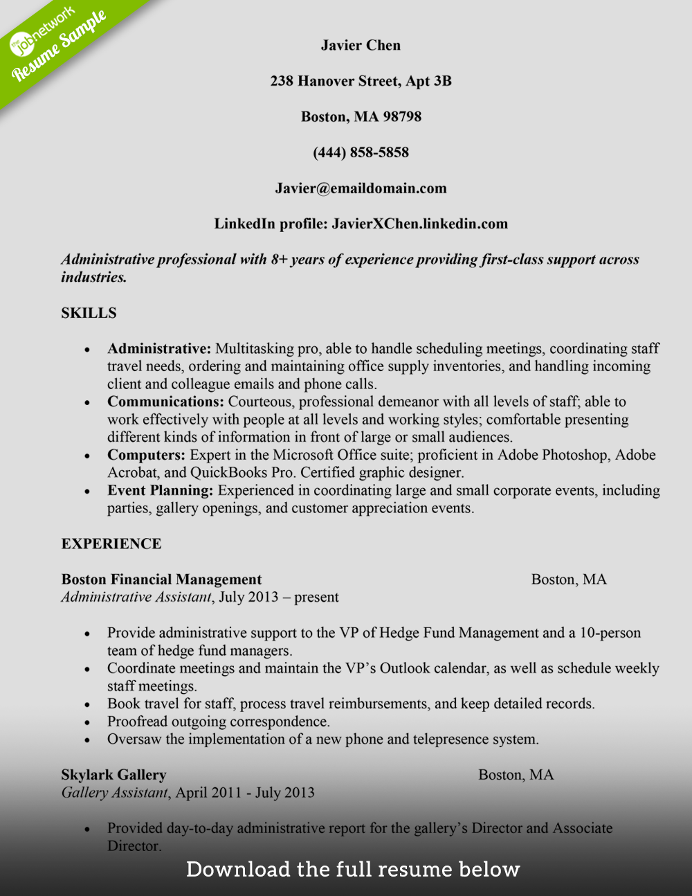 administrative assistant resume javier chen - Perfect Professional Resume