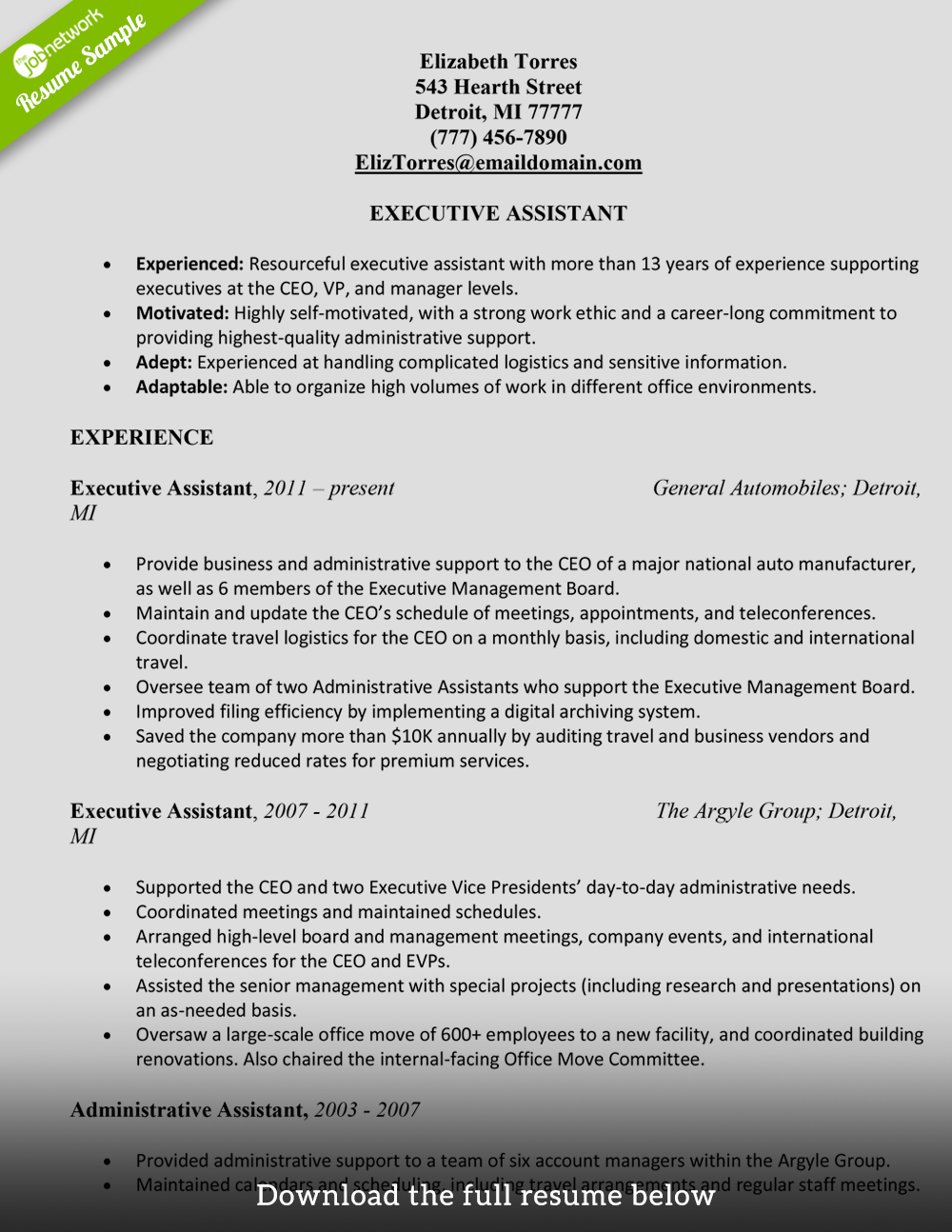 administrative assistant resume elizabeth torres - Administrative Support Resume Samples