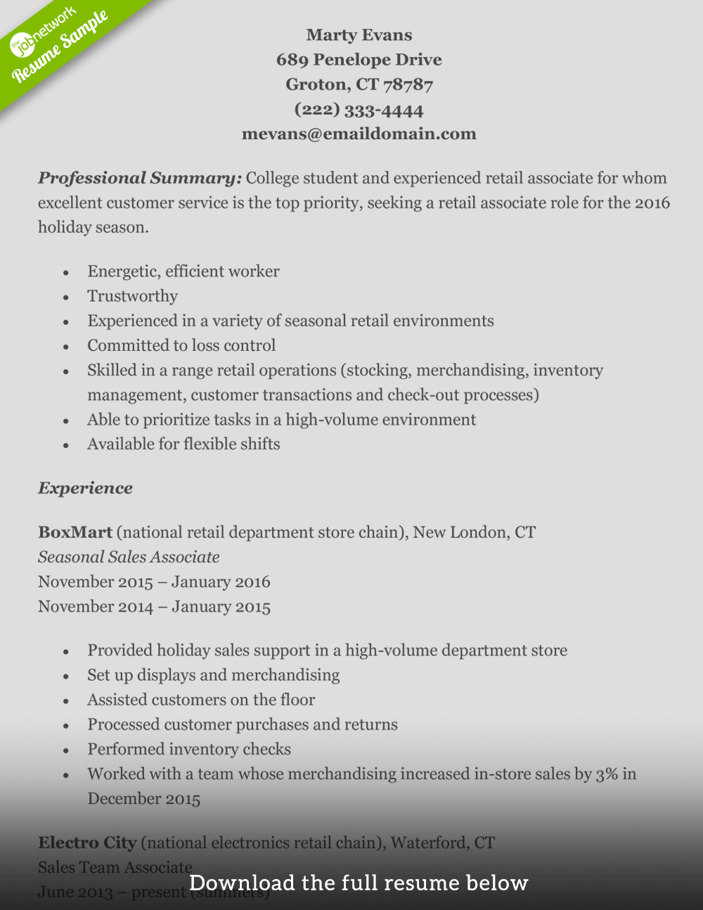 Retail Resume Marty  Resume Examples Retail