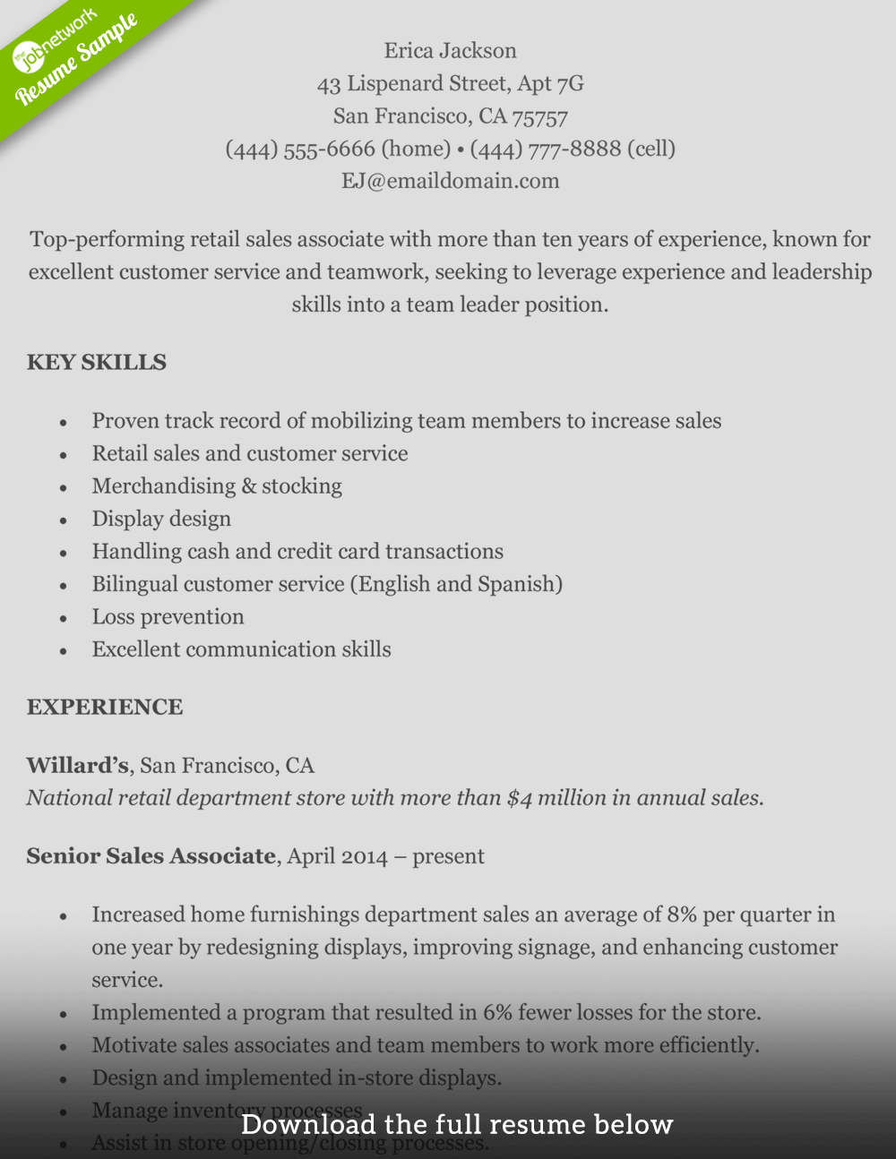 Retail Resume Erica  Skills For Retail Resume