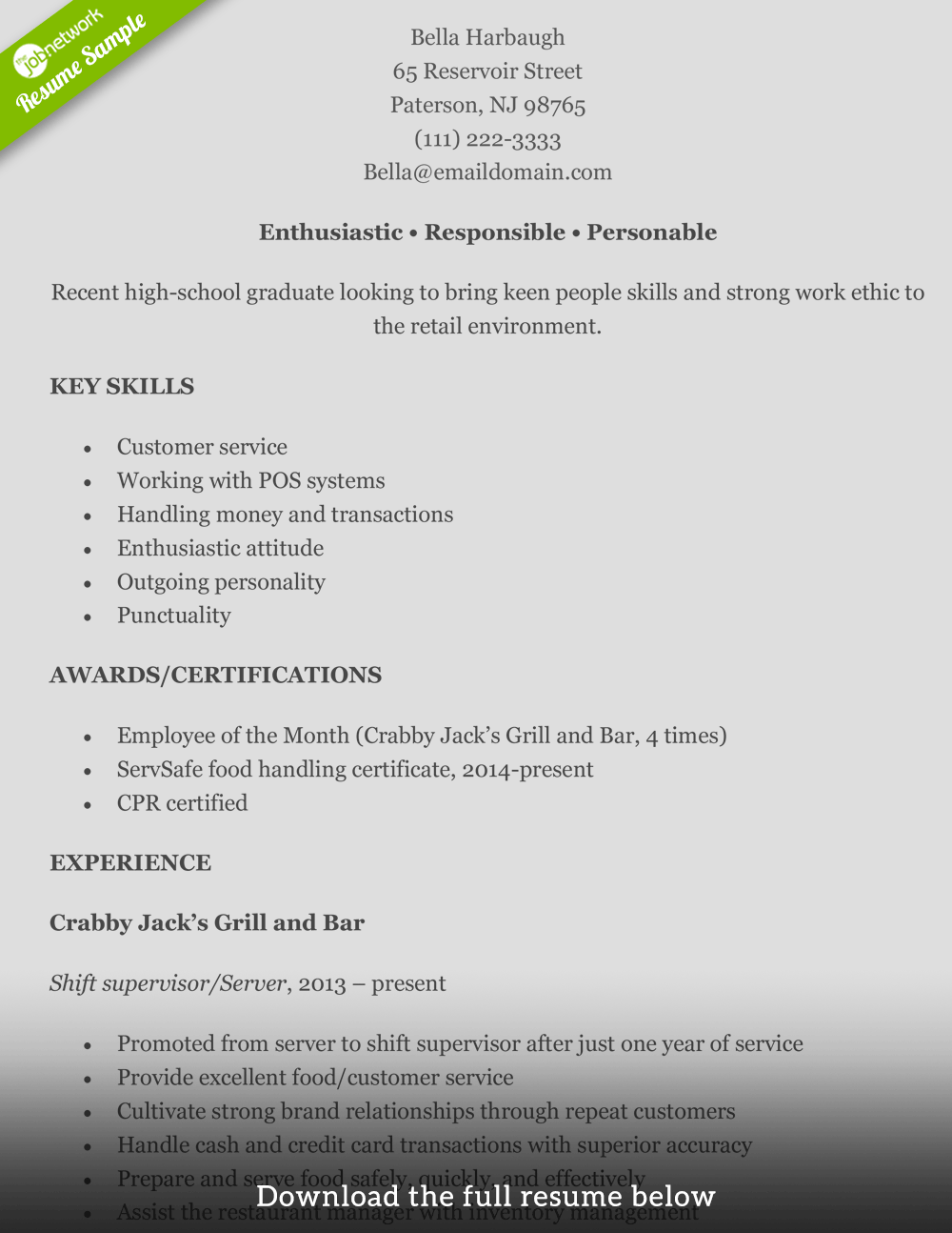 Retail Resume Bella  Retail Resumes Examples