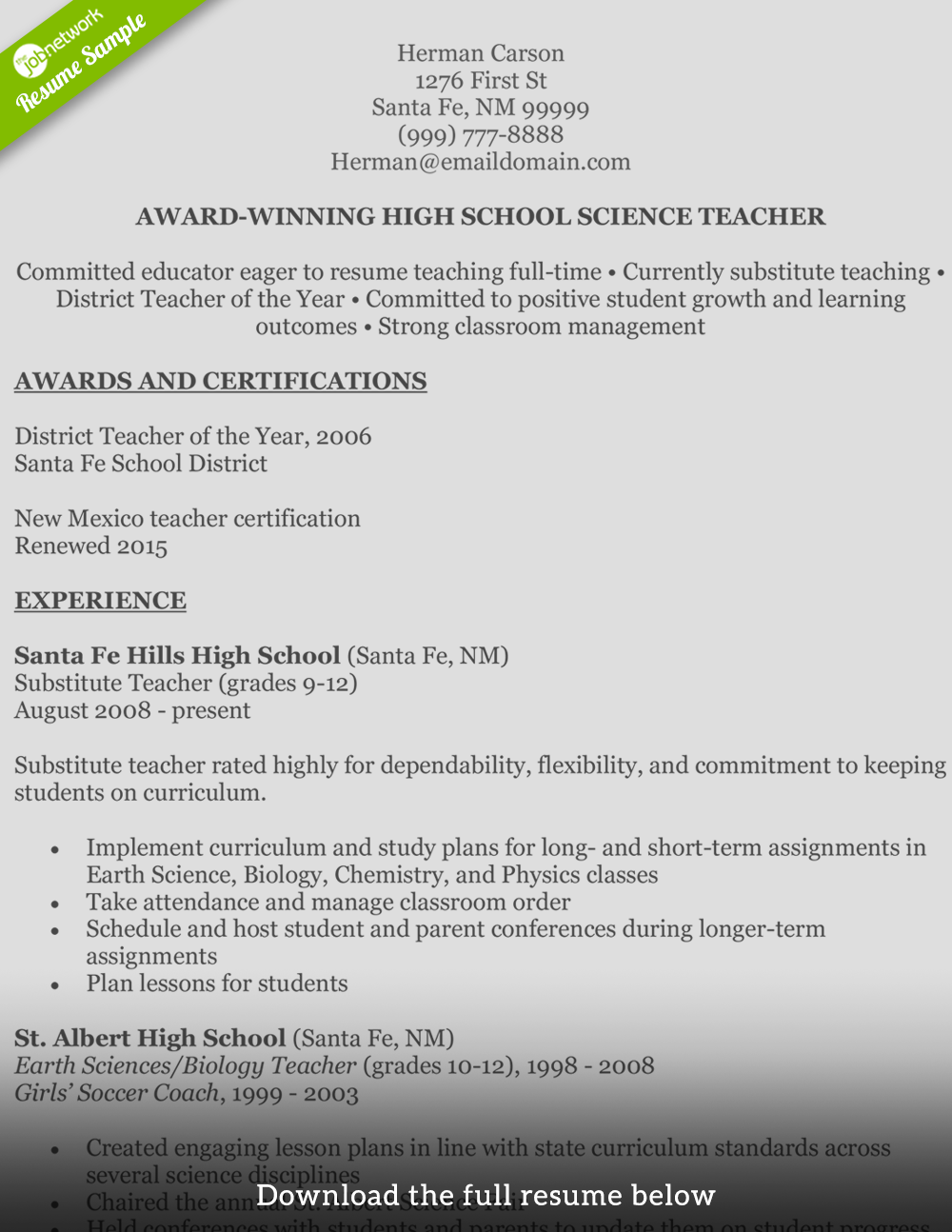 Teaching Resume Herman Carson  Resume Substitute Teacher