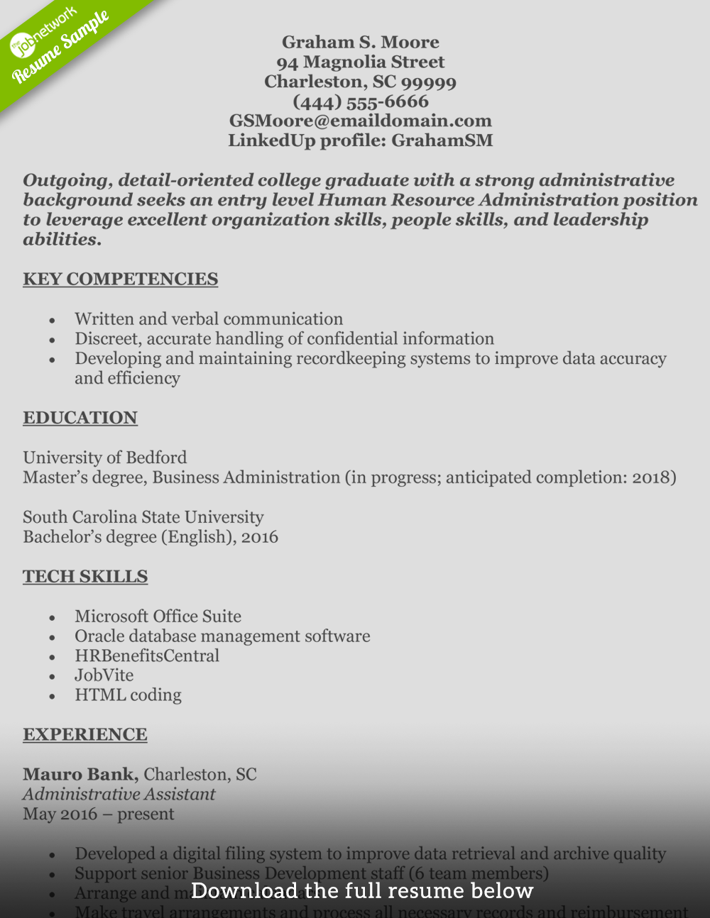 Human Resources Resume Graham. Download This Resume In Ms Word