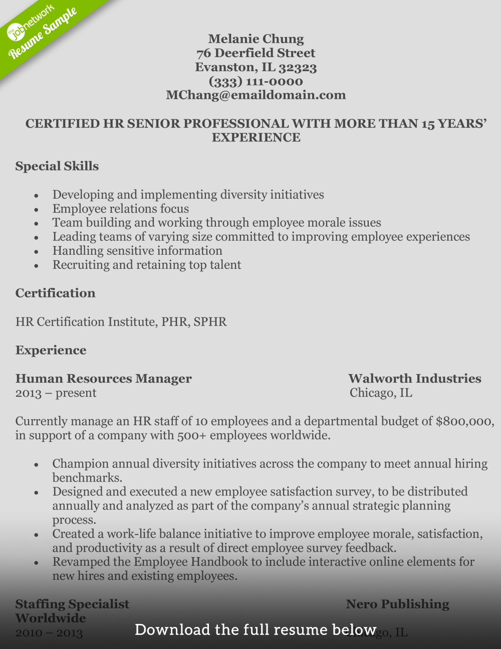 Human Resources Resume Melanie