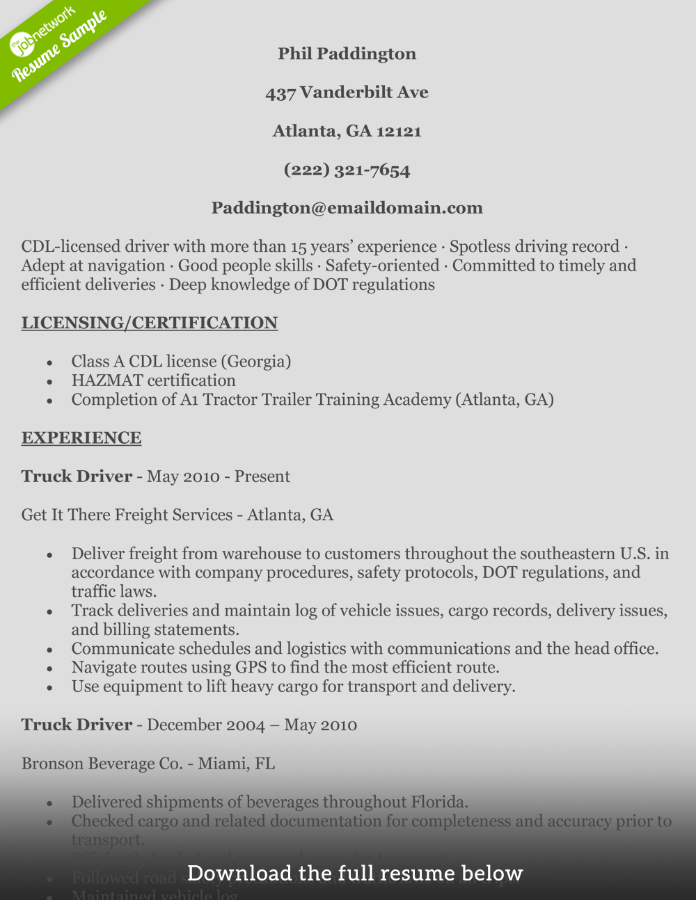how to write a perfect truck driver resume examples truck driver resume phil