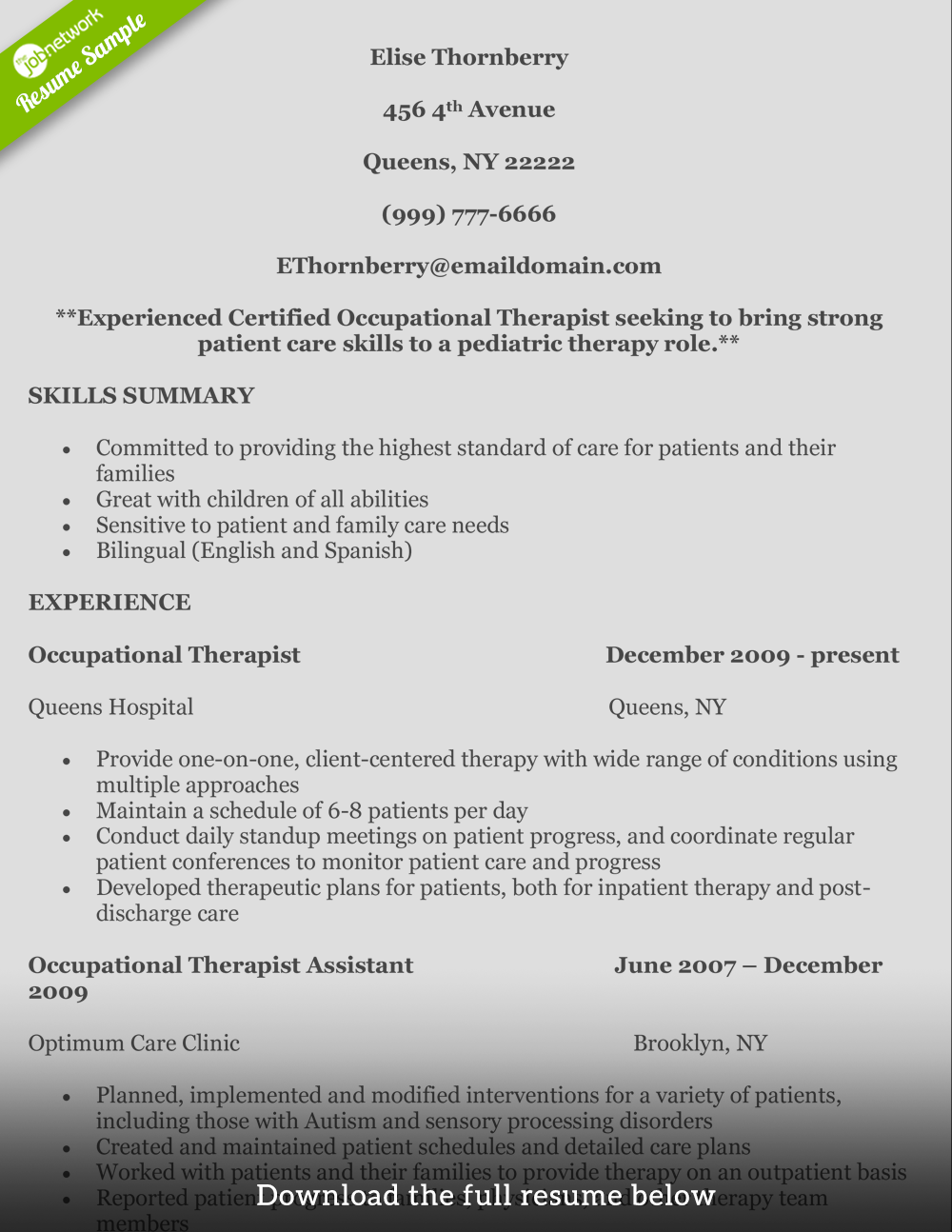 Occupation Therapist Resume Elise  Occupational Therapy Resume