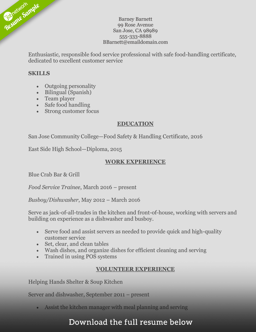 Food Service Resume Entry Level  Food Resume