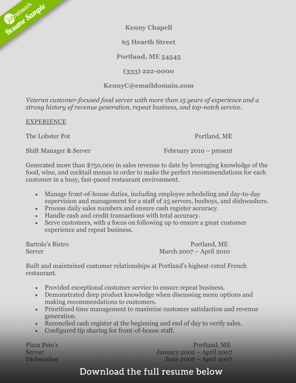 food service resume midlevel - Objective For Food Service Resume