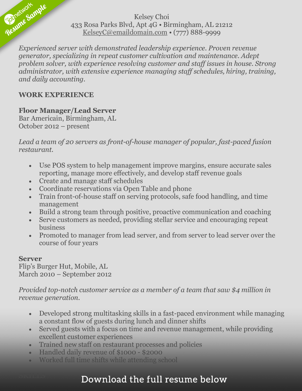 food service resume experienced - Resumes For Servers