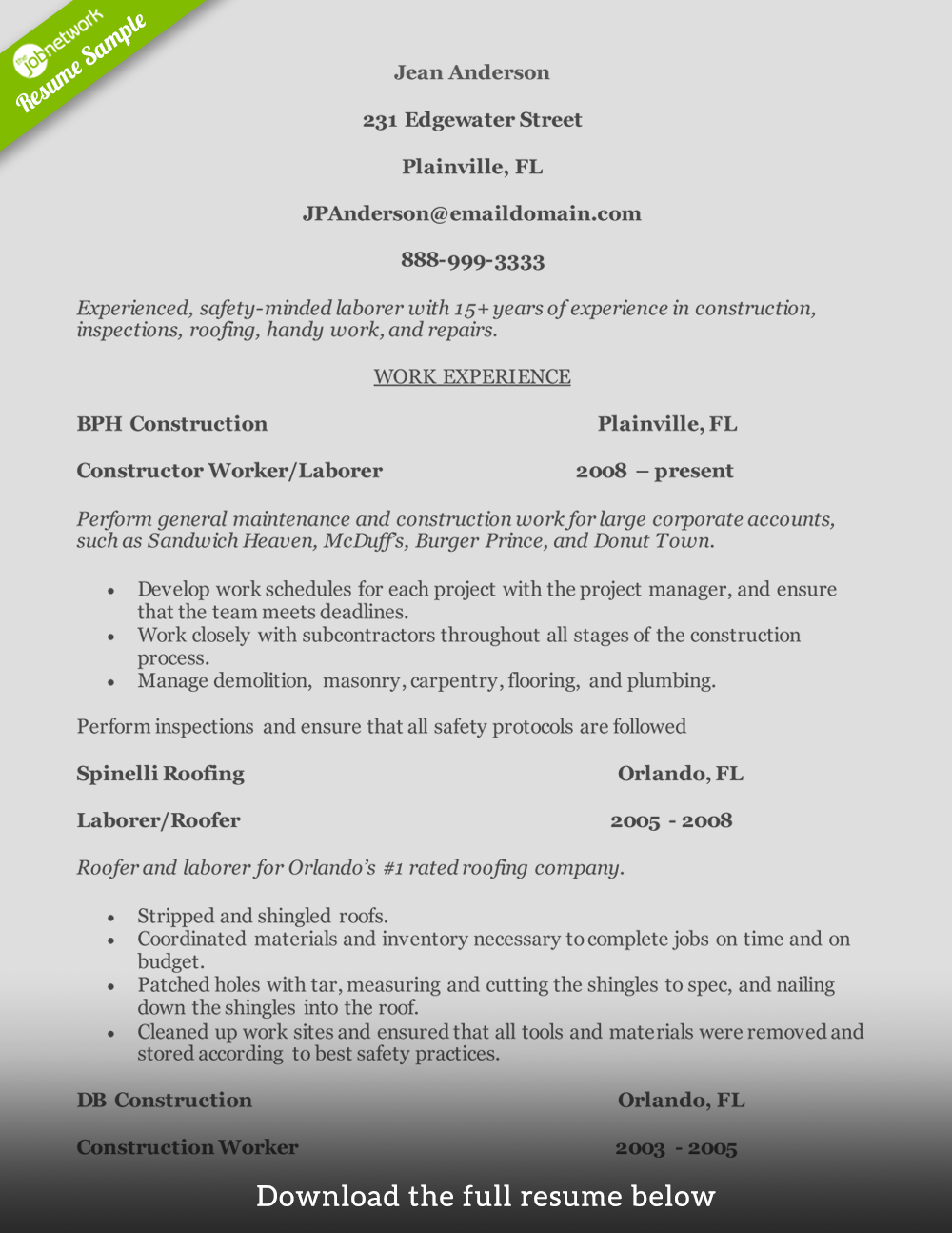 Construction Resume Experienced Worker