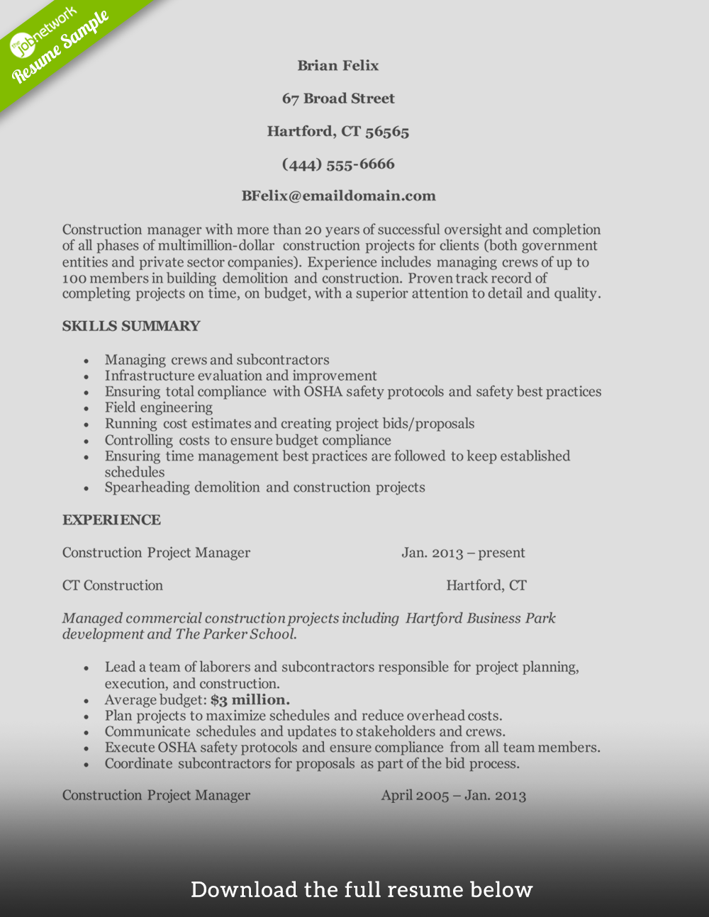 construction resume construction manager - Projects On Resume