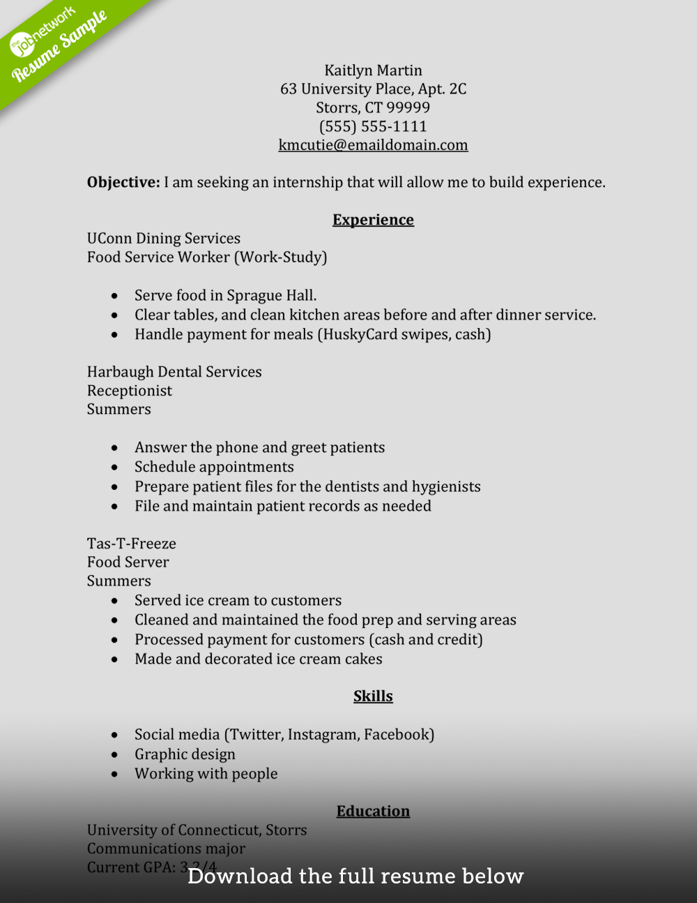 internship resume summer - Resume Food Service Worker