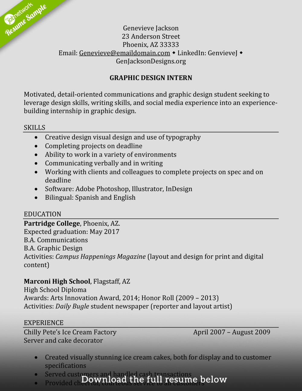Internship Resume No Experience