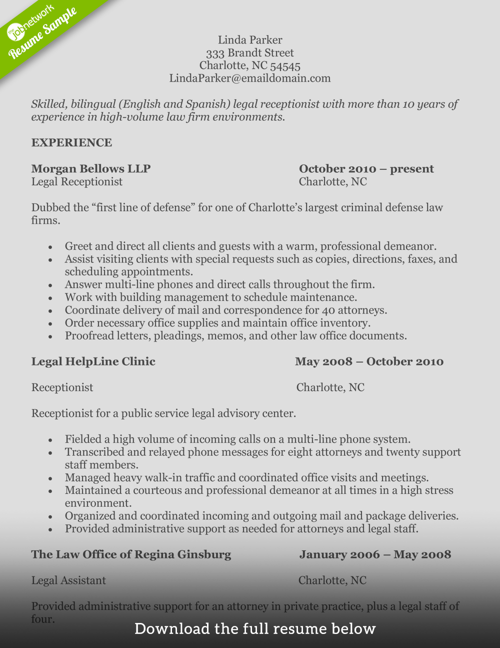 receptionist resume legal