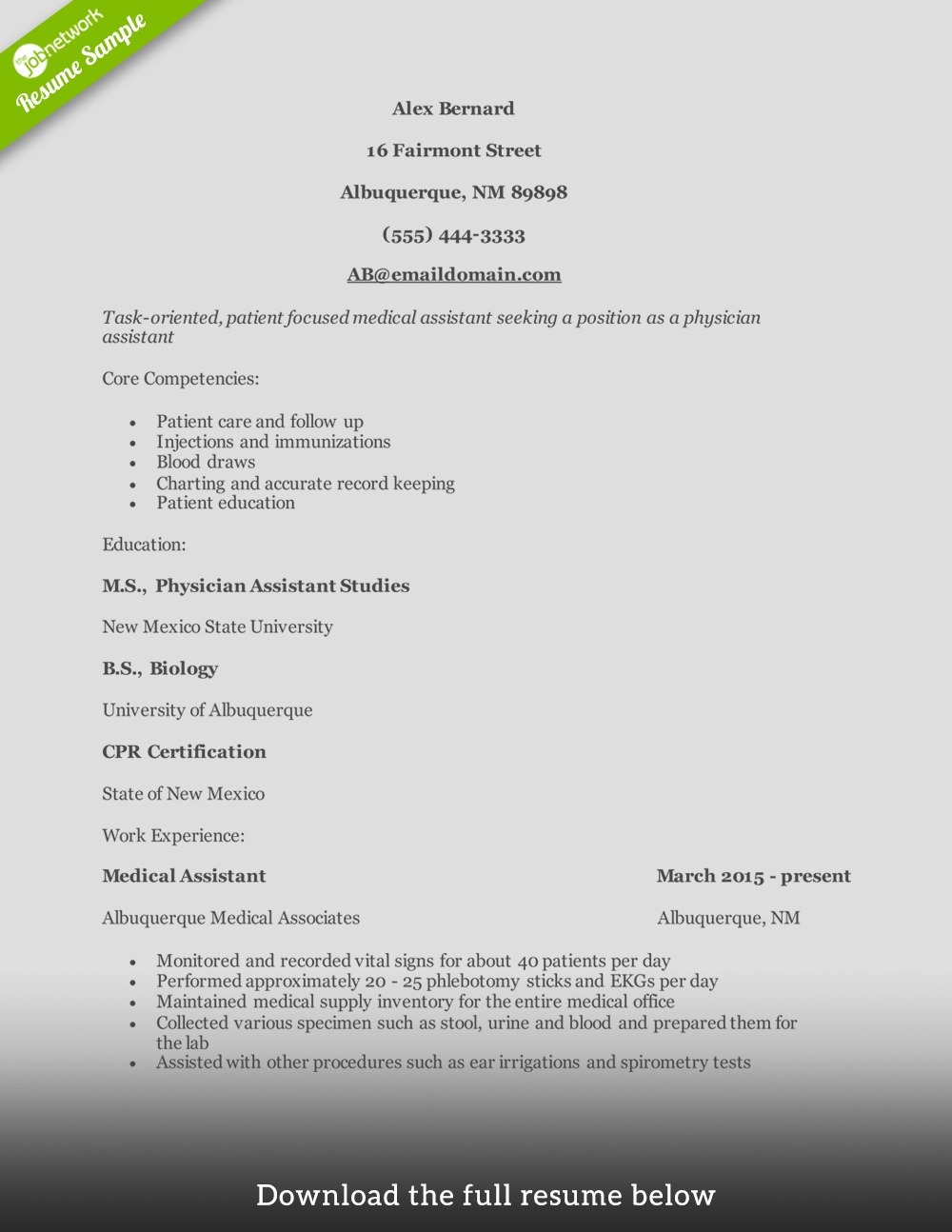 Physician Assistant Resume Entry Level