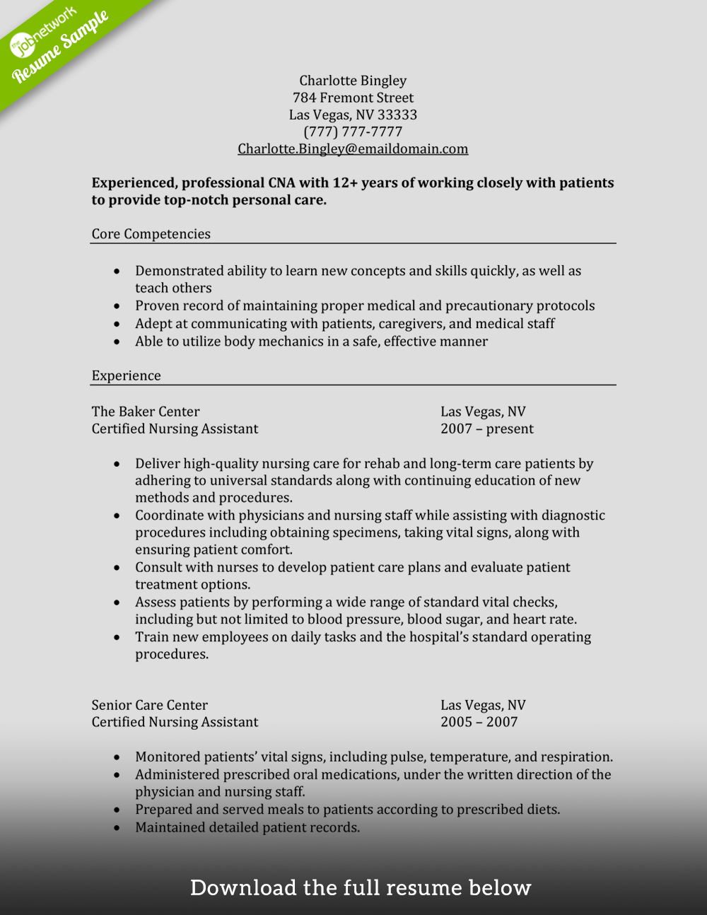 Cna Resume Experienced  Nurse Assistant Resume