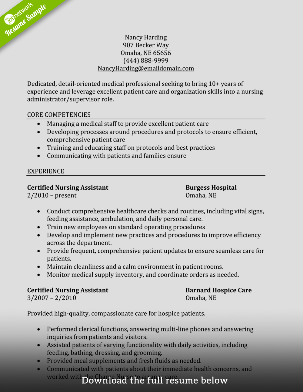 Resume Sample For Cna