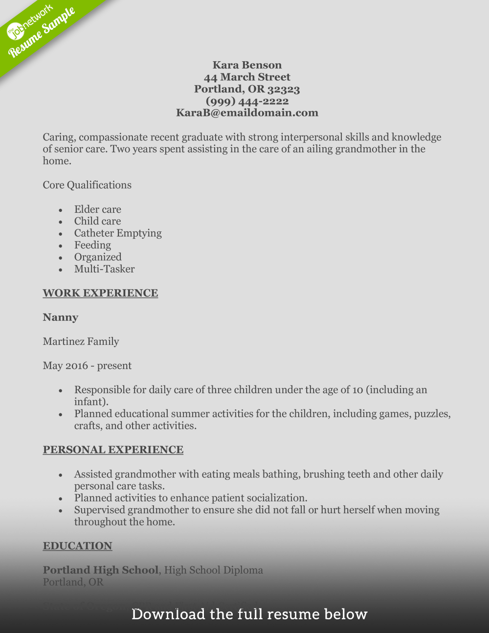 elderly caregiver resume