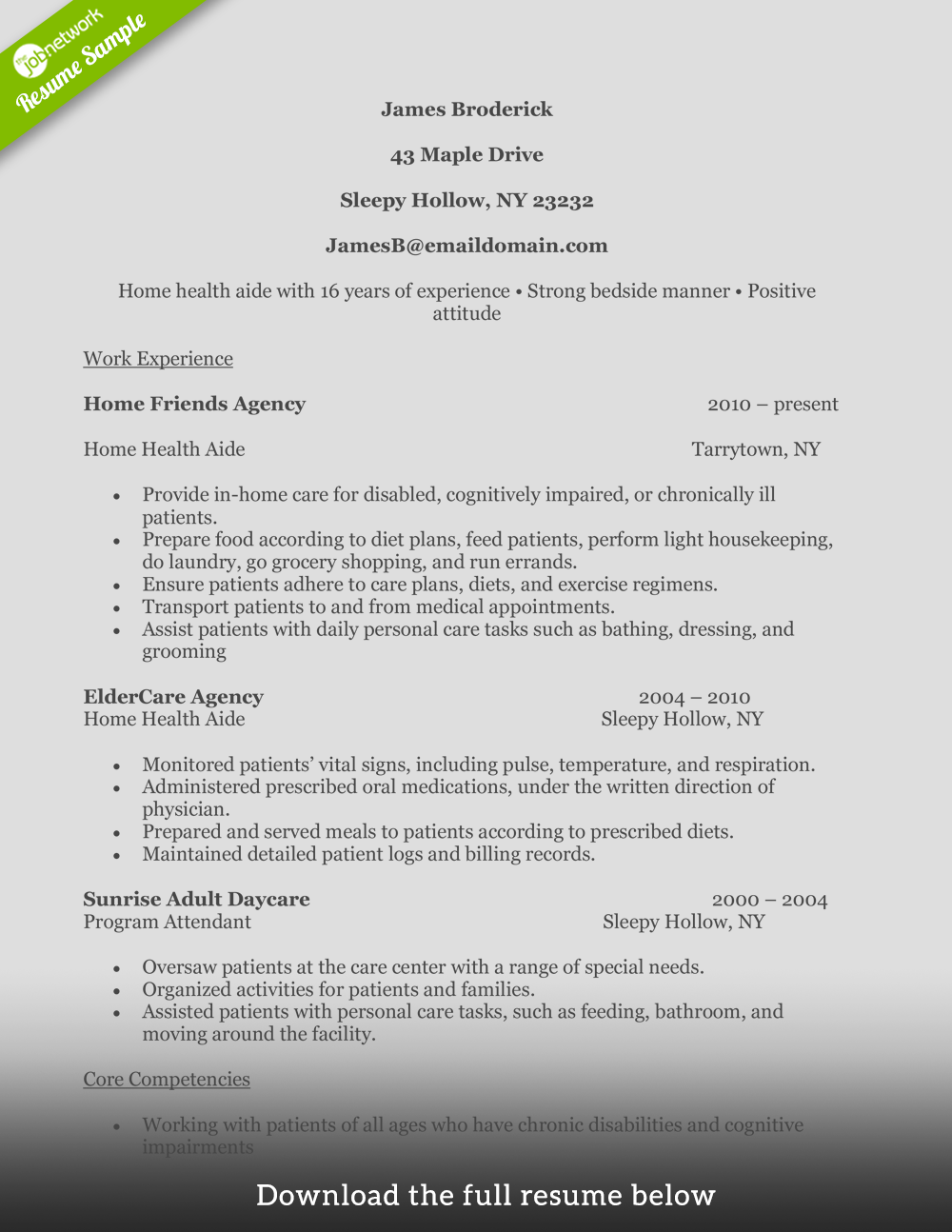 Home Health Aide Resume Experiencedl