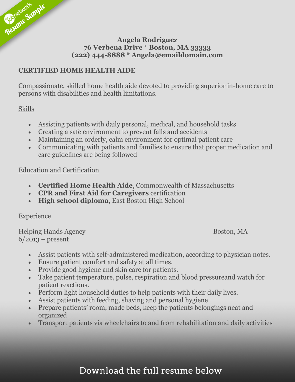 home health aide resume certified