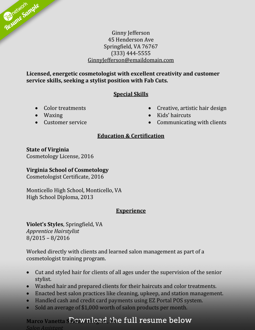 cosmetologist resume entry level - Cosmetology Resume Sample