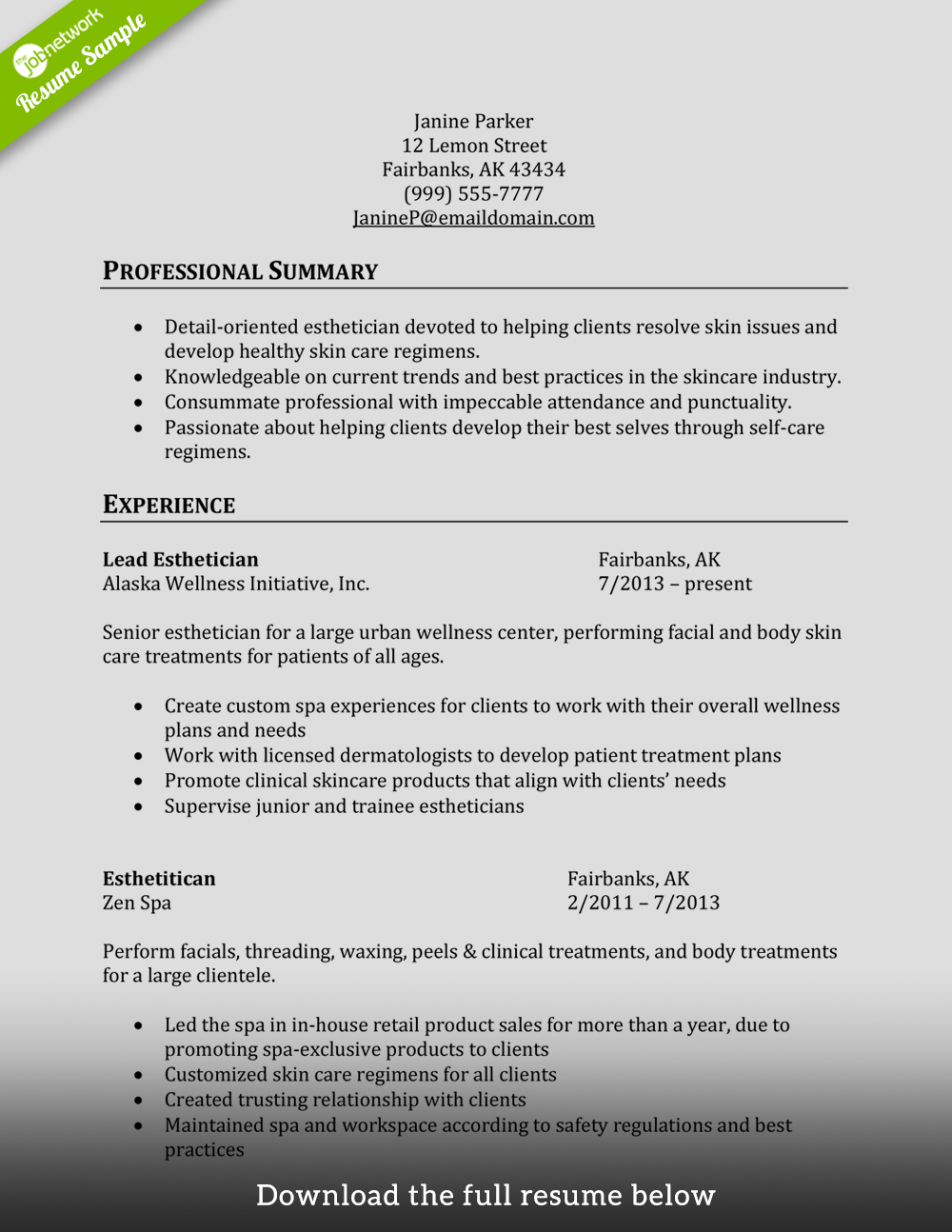 Cosmetology Resume Esthetician  Cosmetologist Resume Sample