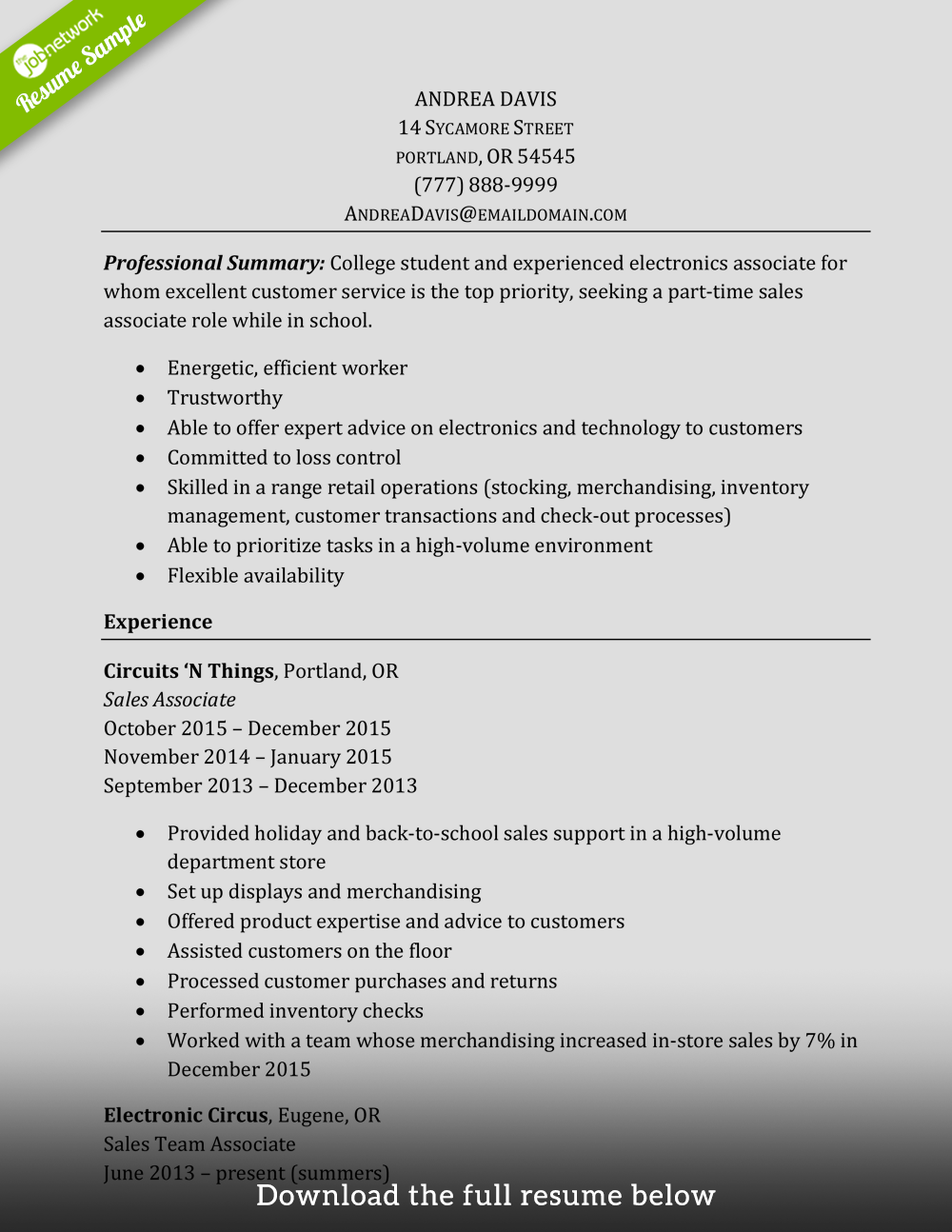 Sales Associate Resume Experienced  Retail Sales Associate Resume Example