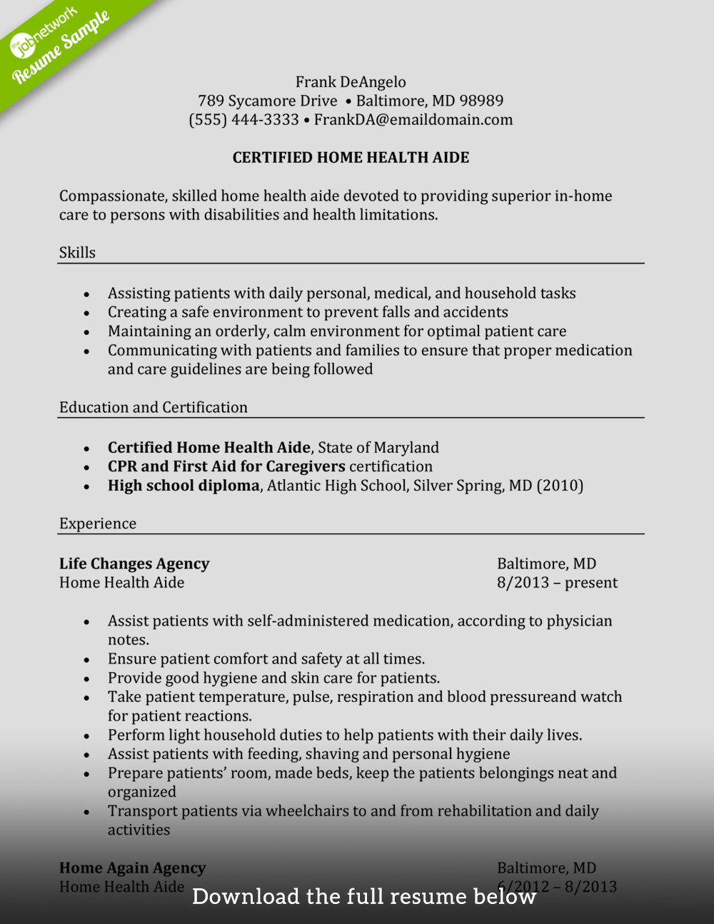 caregiver resume certified