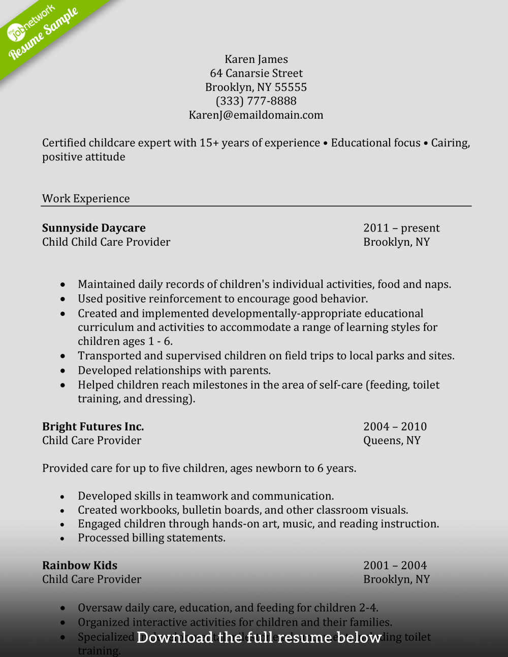 What To Write In A Resume About Child Experience