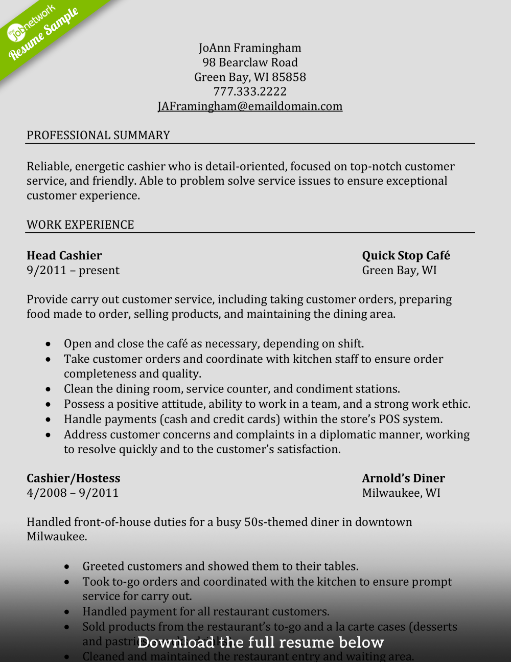 Cashier Resume Experienced Restaurant  Customer Services Resume