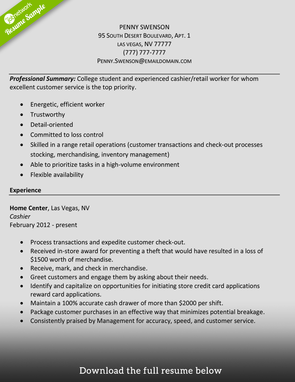 Cashier Resume Experienced In Retail  Cashier Resume Skills