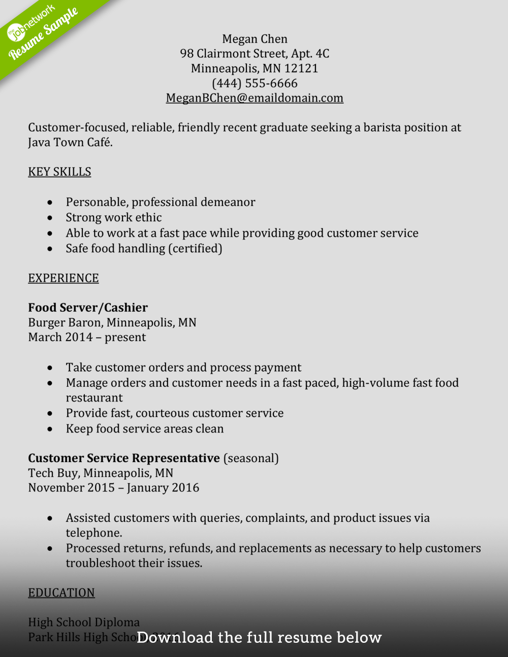 barista resume entry level - Inexperienced Resume Examples