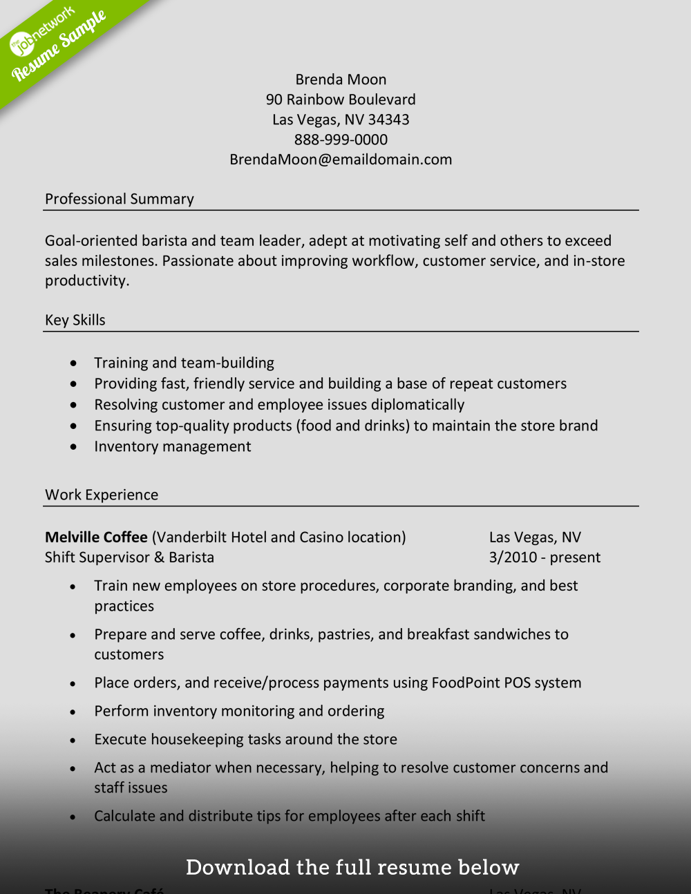 barista resume manager level - Skill Resume Samples