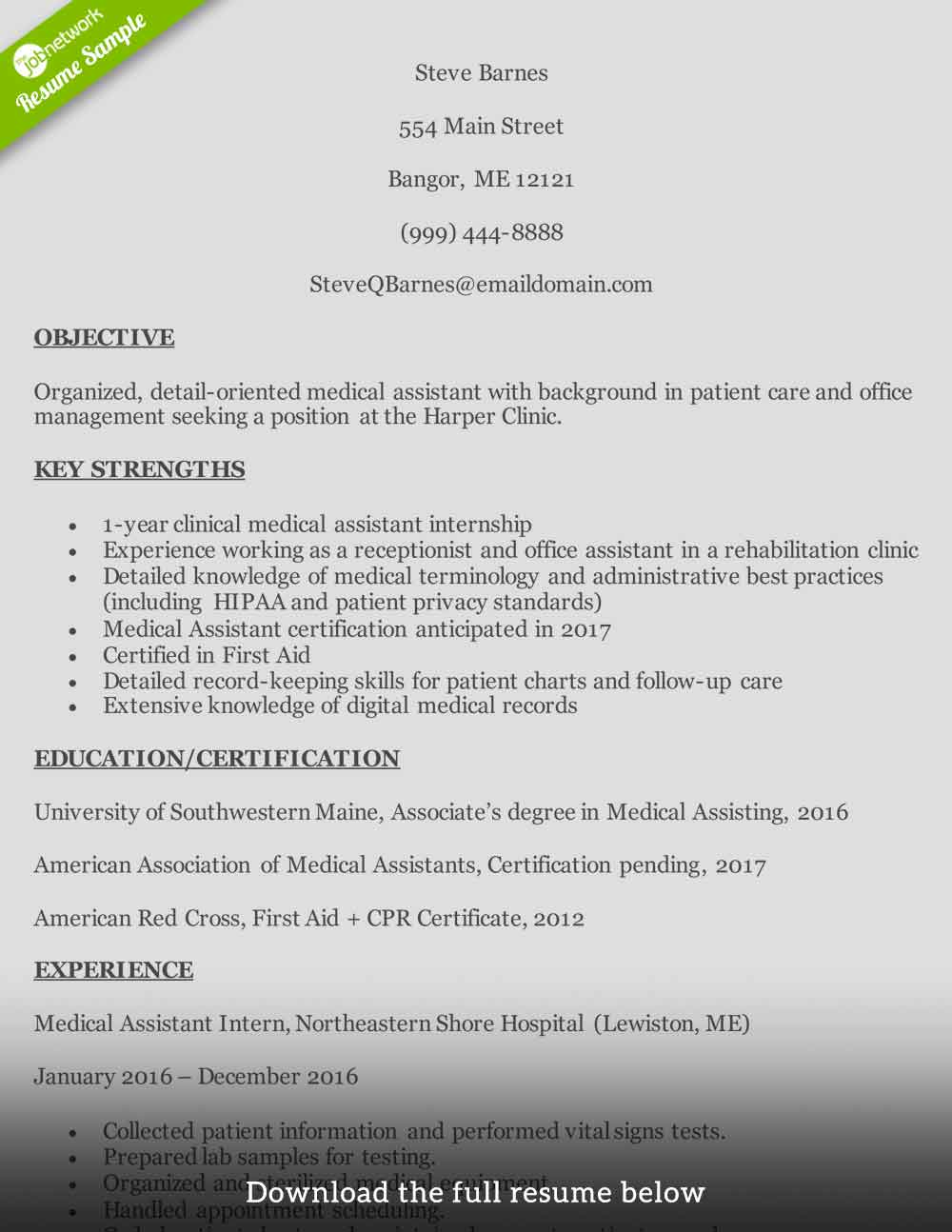 medican assistant resume entry level - Entry Level Medical Assistant Resume