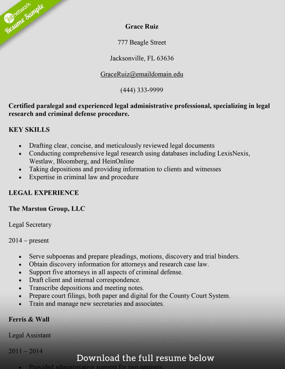 Legal Secretary Resume Paralega  Administrative Secretary Resume