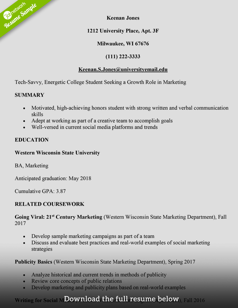 college student resume marketing assistant - College Resume