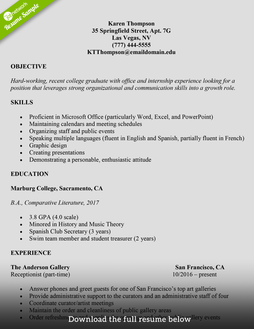 College Student Resume Administrative Assistant